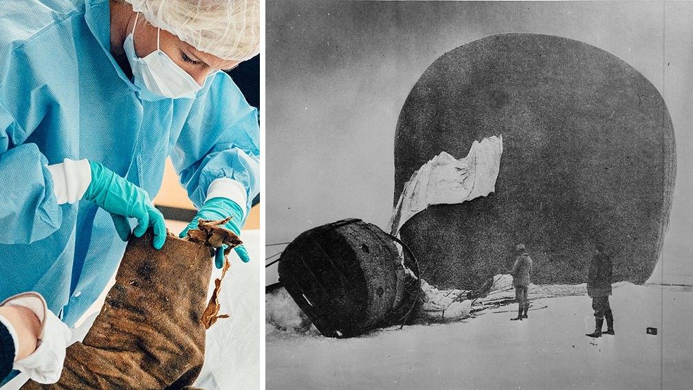 Undersökning av Knut Fraenkels kavaj. Ballongen Örnen på polarisen. Foto: Johanna Åkerberg Kassel och Nils Strindberg