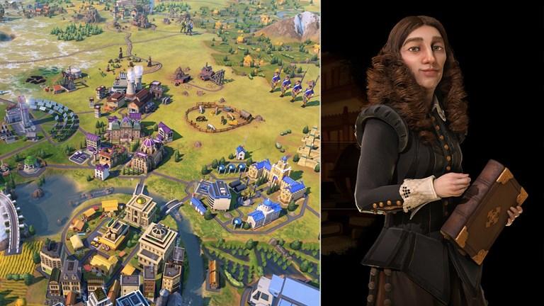 """Skärmdump från spelet """"Civilization"""" och drottning Kristina i samma spel. Foto: Firaxis"""