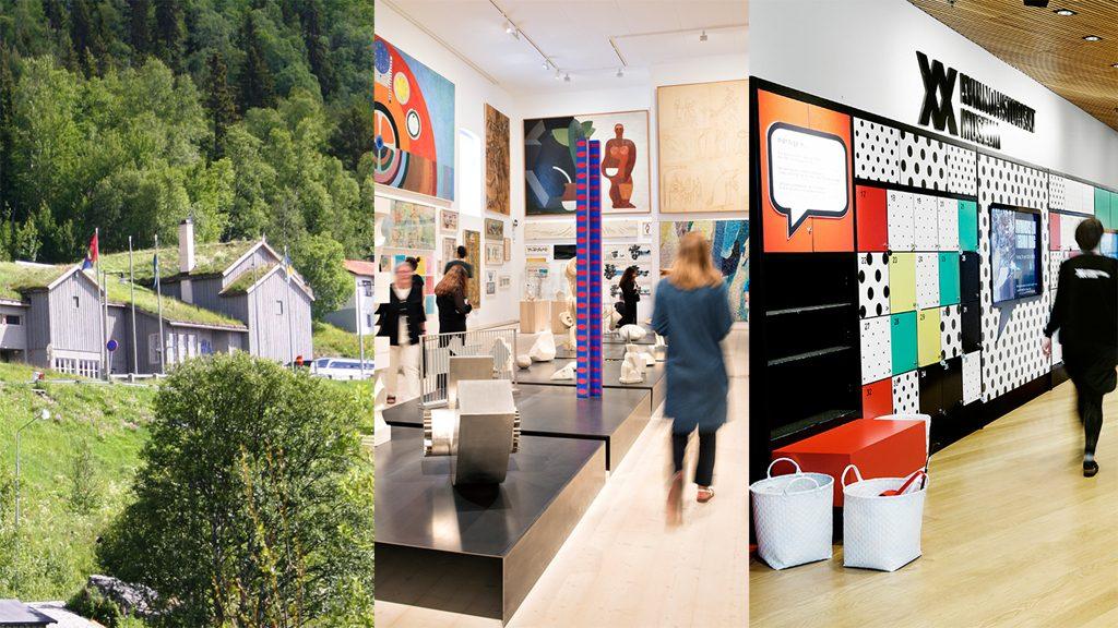 Fjällmuseet. Foto: Lasse Johansson.; Skissernas Museum. Foto: Johan Persson; Kvinnohistoriskt museum.