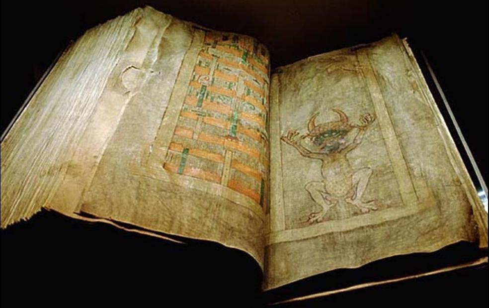 Djävulsbibeln togs som krigsbyte i Prag 1648. Foto: Kungliga biblioteket