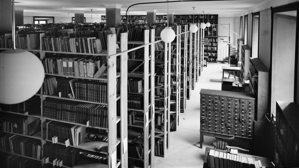Uppsala universitetsbibliotek Carolina Rediviva 1936. Foto: Paul Sandberg. Ur Upplandsmuseets samlingar