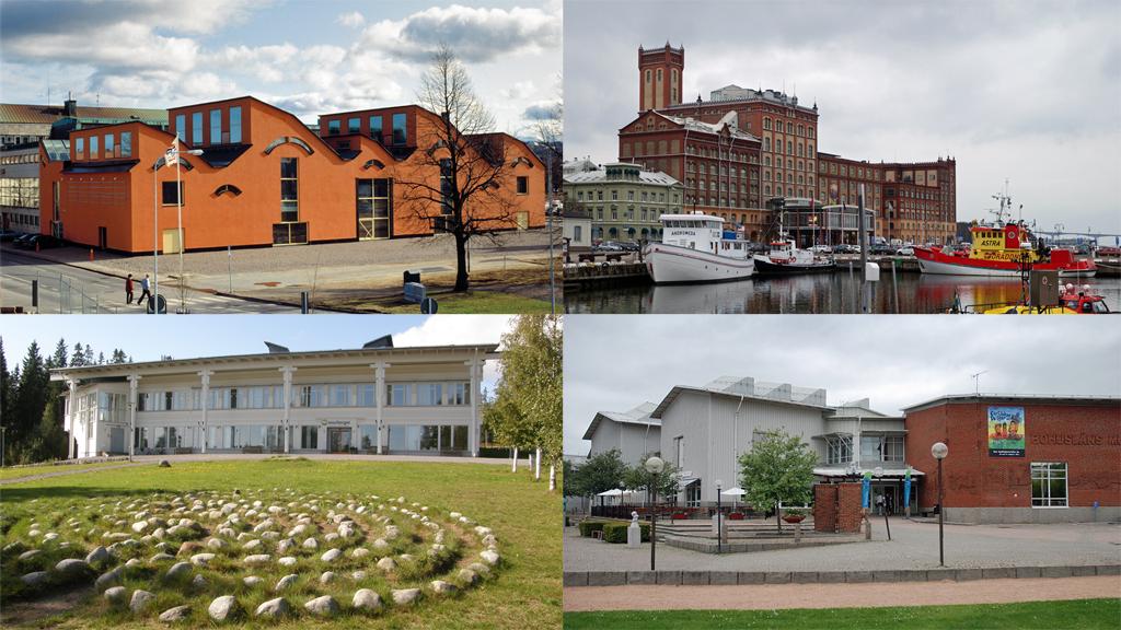 Jönköpings läns museum, Kalmar läns museum, Länsmuseet Västernorrland och Bohusläns museum. Foto: Jönköpings läns museum samt Jopparn, Blajo och Boberger (Wikimedia Commons)