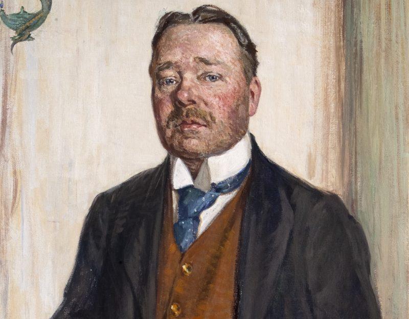 """""""Porträtt av Hjalmar Söderberg"""", Gerda Wallander, 1916, olja på duk, Thielska Galleriet . (Bilden är beskuren.)"""