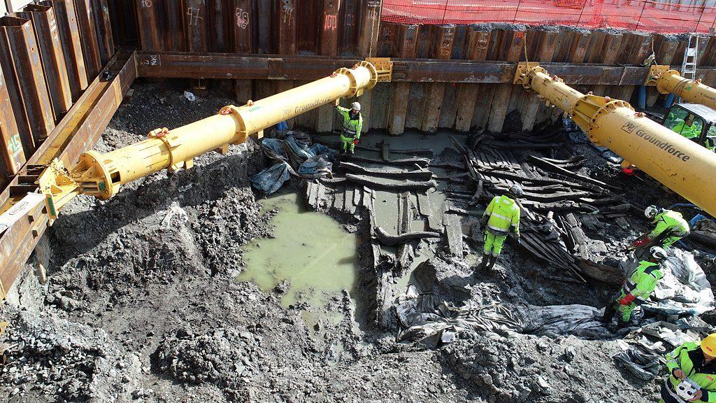 Skeppsvrak i Masthamnen i Göteborg. Foto: Arkeologerna