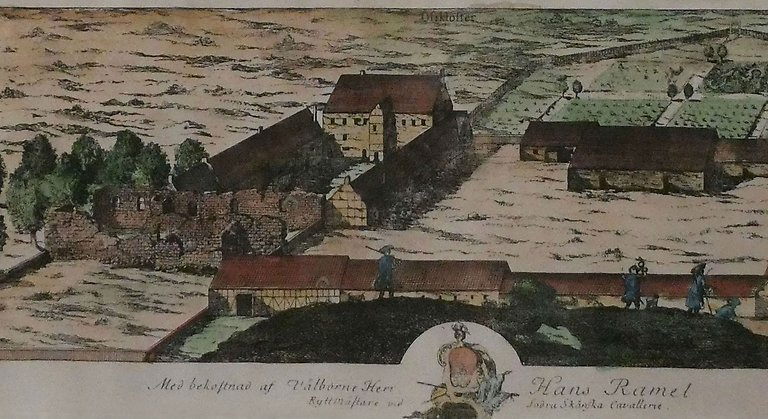 Utsnitt ur Gerhard von Burmans teckning av tecknade av Övedskloster 1680. Rester av klosteranläggningen syns till vänster.