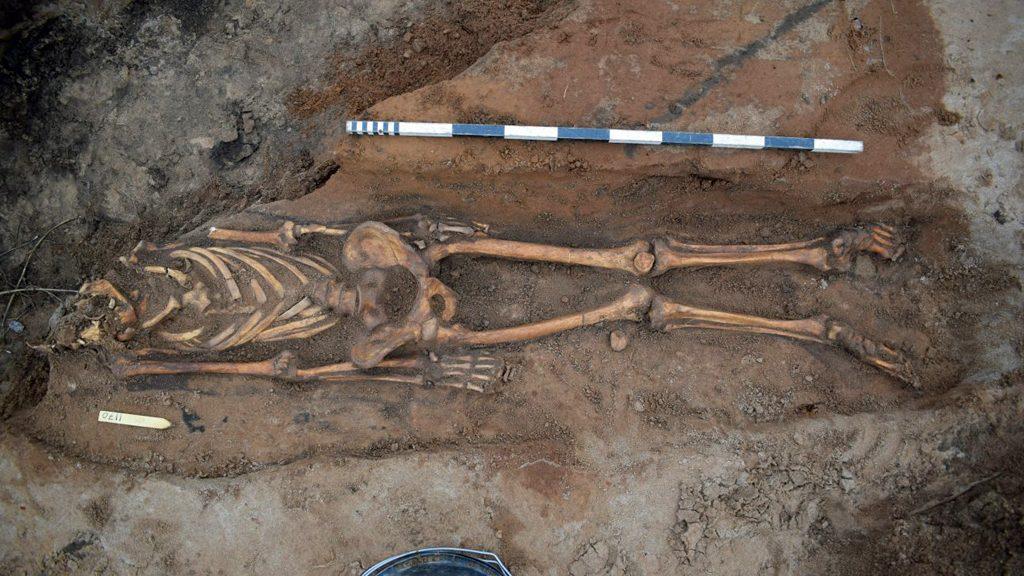 En av de skadade gravarna vid den nyligen funna begravningsplatsen vid Vreta kloster. Foto: Arkeologerna