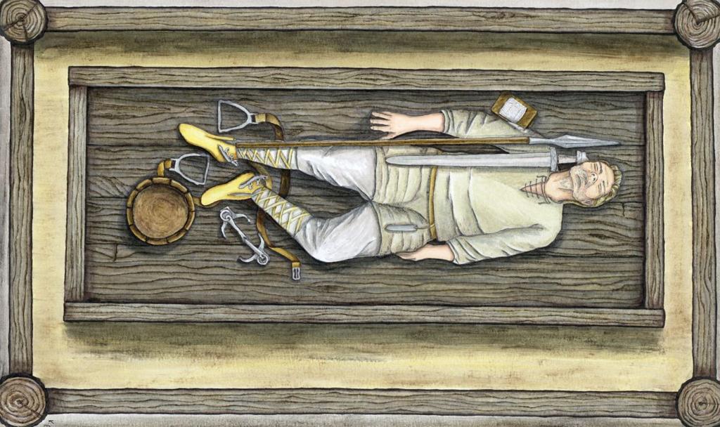 Rekonstruktion av en av krigargravarna. Illustration: K. Patalon