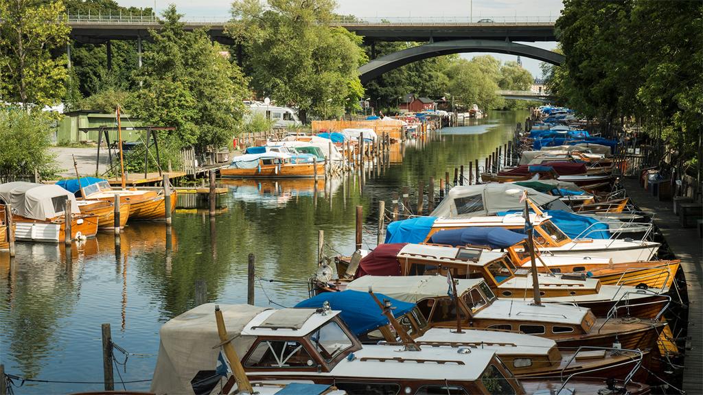 Båtar i Heleneborgs båtklubb i Stockholm. Foto: Anneli Karlsson/Statens maritima och transporthistoriska museer