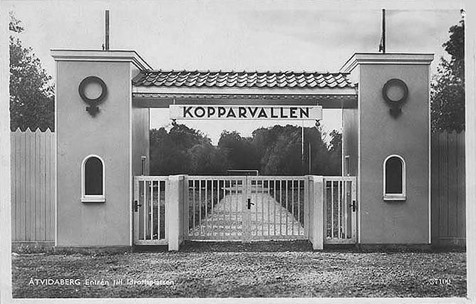Vykort med entrén till Kopparvallen i Åtvidaberg