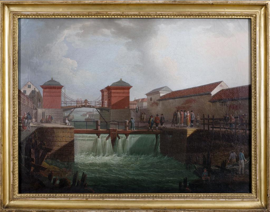 "Christopher Polhems ""Röda Sluss"". Målning av Anders Holm 1780. Stockholms stadsmuseum"