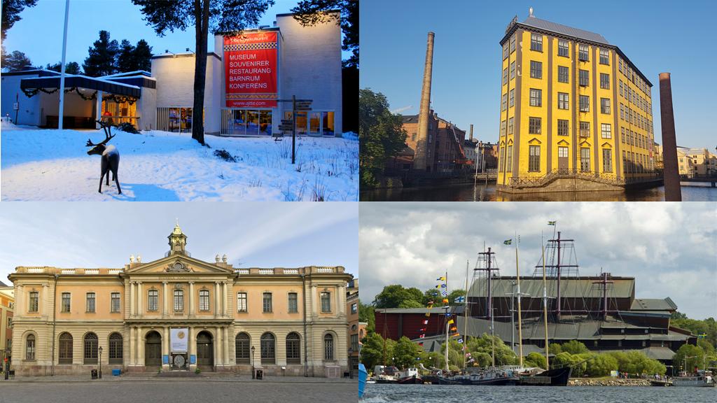 Ájtte, Arbetets museum, Nobelprismuseet och Vasamuseet. Foto: Tenneh Kjellson/Ájtte, Peter Kristensson/Klingsbergs Förlag, Hans Nilsson/Nobel Prize Museum och Vasamuseet