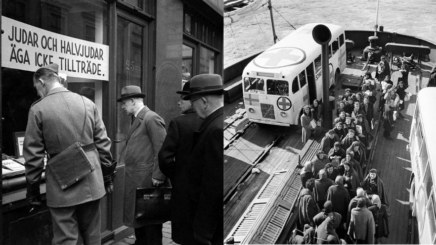 Einar Åbergs bokhandel i Stockholm i oktober 1941 (Karl Sandels samling, Historisk Bildbyrå.); Vita bussarna anländer till Malmö hamn i maj 1945 (Foto: KW Gullers, Nordiska museet)