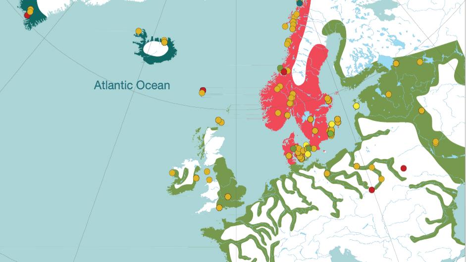 """Del av karta över DNA-fynd i artikeln """"Population genomics of the Viking world"""""""