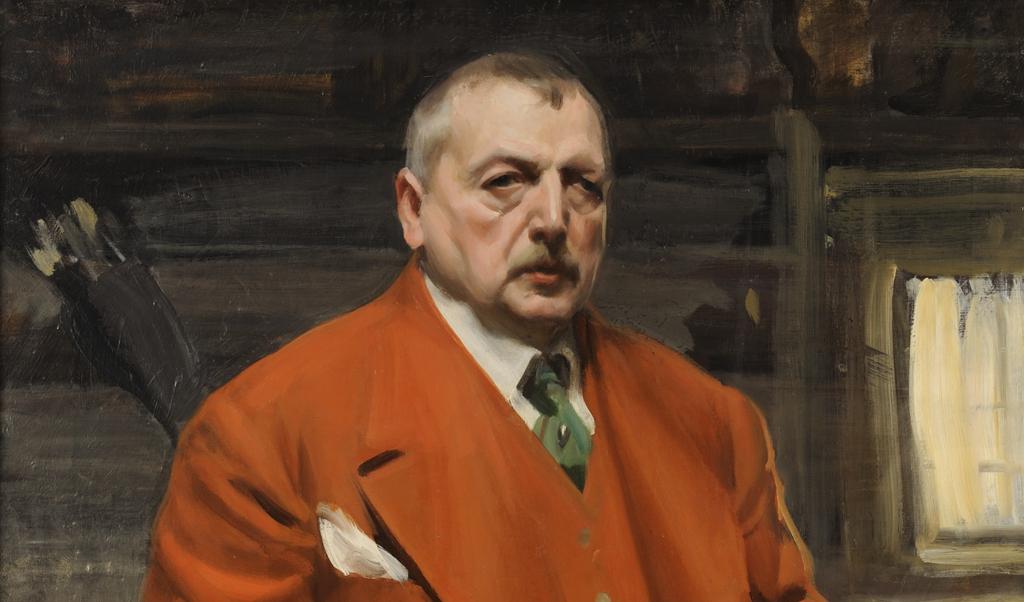 Anders Zorn, Självporträtt i rött, 1915, olja på duk, Zornmuseet (beskuren)