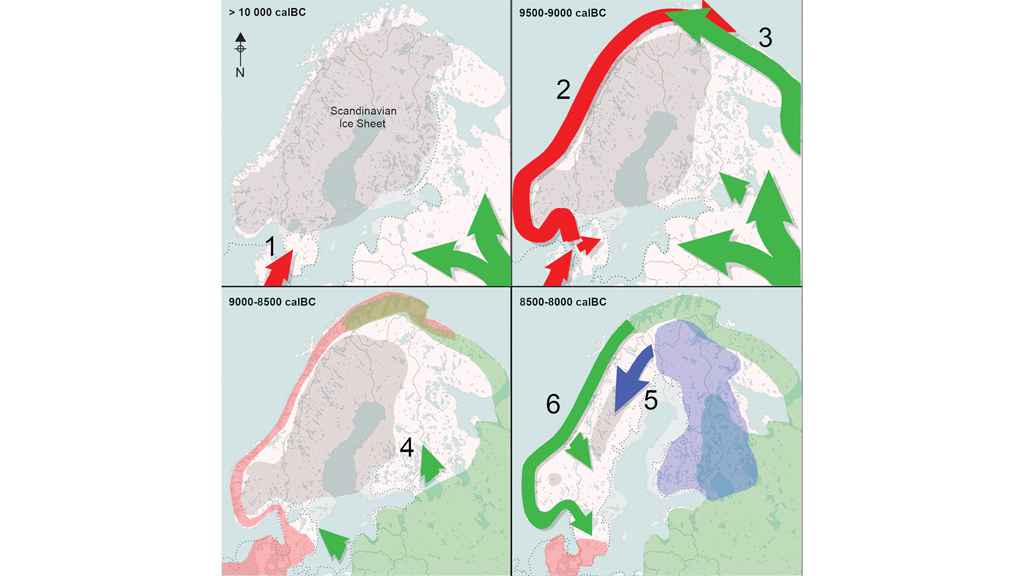 """Kartor från studien """"First encounters in the north: cultural diversity and gene flow in Early Mesolithic Scandinavia"""""""