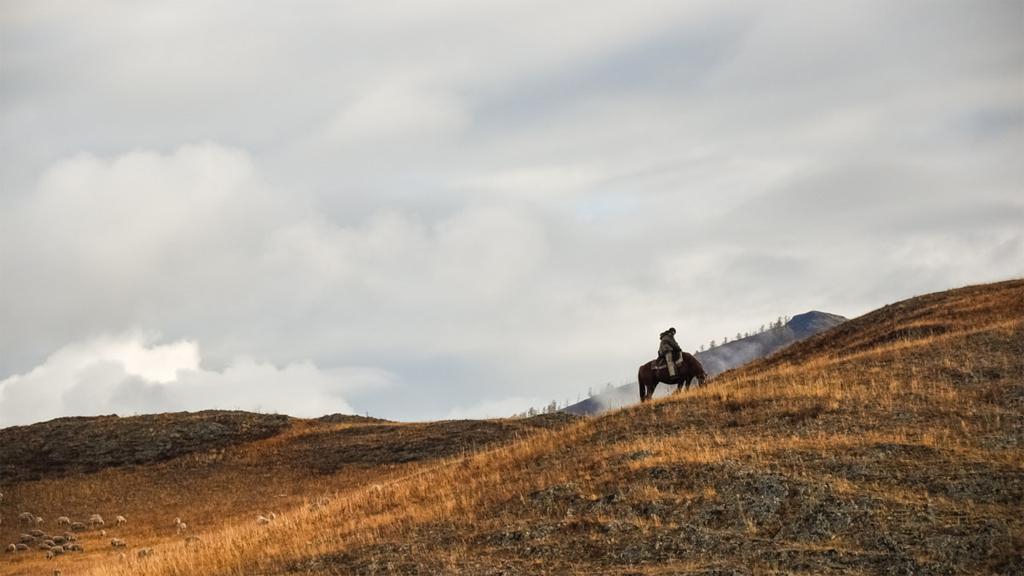 Kazakisk herde i Altai-bergen i västra Mongoliet.