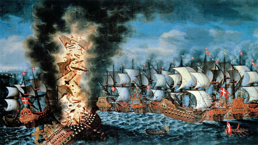 Kronan exploderar i slaget vid Öland 1676. Målning av Claus Møinichen