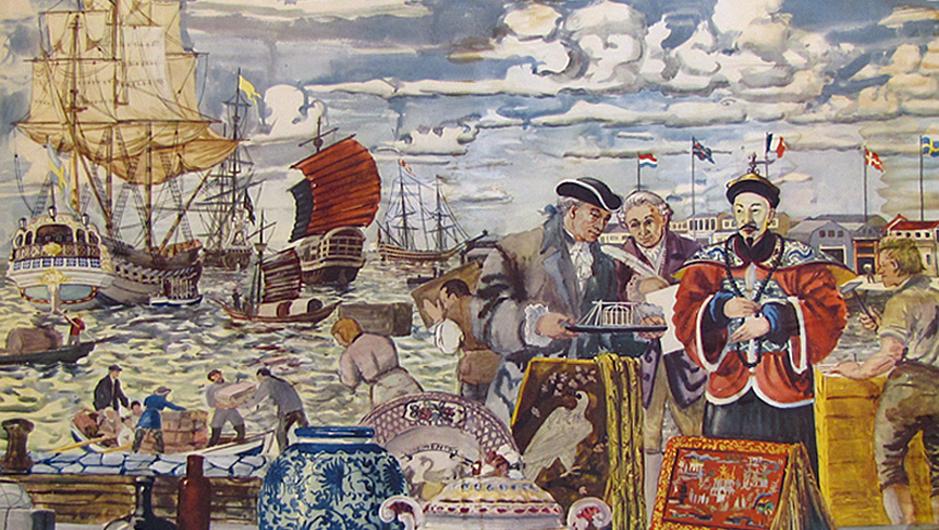 Ostindiska kompaniet, gammal skolplansch. Foto: Vänersborgs museum
