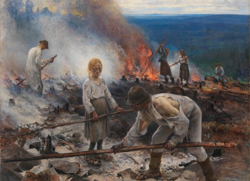 """""""Trälar under penningen (Svedjebruk)"""", oljemålning av Eero Järnefelt 1893, Ateneum i Helsingfors"""