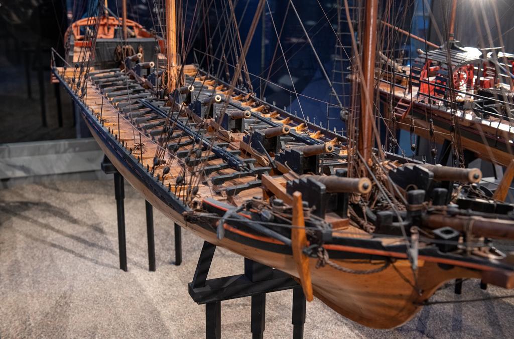 Modell av fartyget Ingeborg, byggd 1776 efter ritningar av Fredrik Henrik af Chapman. Foto: Anneli Karlsson/Sjöhistoriska museet